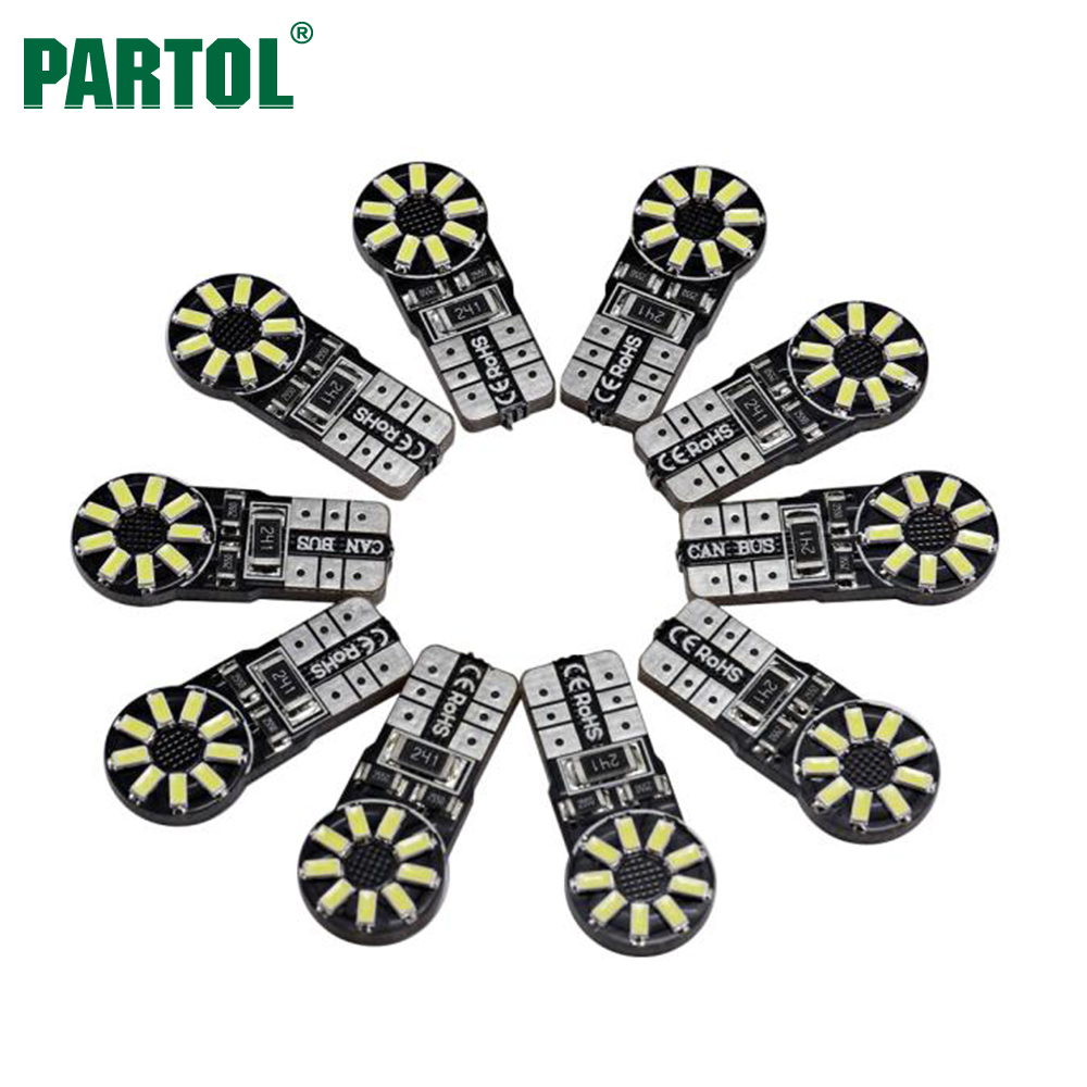 Partol 10Pcs T10 W5W Car LED Lights Bulbs 6000K White Super Bright 168 194 Auto Turn Side Lamp Car Reverse Fog DRL Interior Lamp 4pcs super bright t10 w5w 194 168 2825 6 smd 3030 white led canbus error free bulbs for car license plate lights white 12v