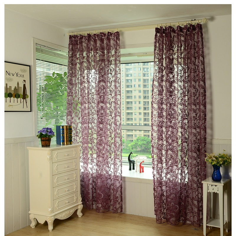 XinHuaEase Purple Tulle For Windows Curtain In The Kitchen