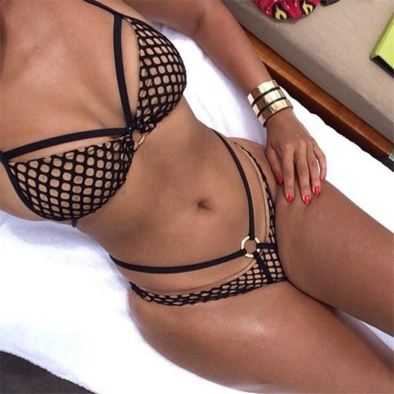 Bikini Summer Sexy Mesh Bikini Set Metal Swimwear Women Back Tie Swimsuits Brazilian Nets Yarn Agent Provocateur bikini summer style 2017 latest deep v halter agent provocateur bikini bathing suit
