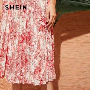 Image 3 - Shein 조경 인쇄 스윙 pleated 치마 봄 여름 여성 boho 높은 허리 롱 스커트 숙녀 라인 우아한 미디 스커트