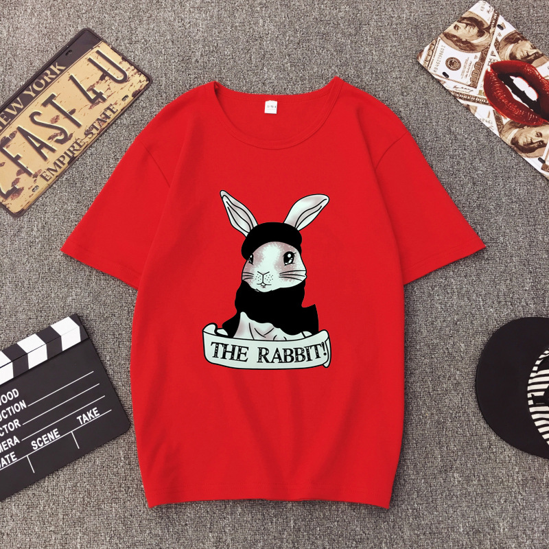 Cute Rabbit Print Women Tshirt High Quality Short Sleeve Round Neck Cotton Spandex Women Tops Casual Loose Women T-shirt 5