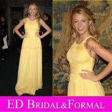 Blake Lively Gelb Chiffon Abendkleid Promi Inspiriert Lange Formale Abendkleid
