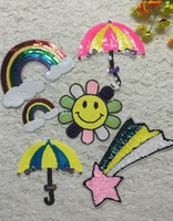 Cartoon Sequins Patch 6pcs Lot Colorful Rainbow Umbrella Patches For Kids Clothes DIY Sewing On Embroidered