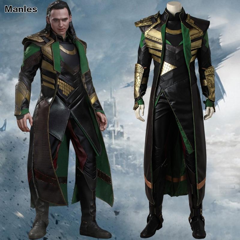 Thor thor The Dark World Loki Cosplay Costume Movie Thor 2 Superhero Outfit Stivali The Avengers Vestiti di Halloween Per Adulti Uomo Su Misura