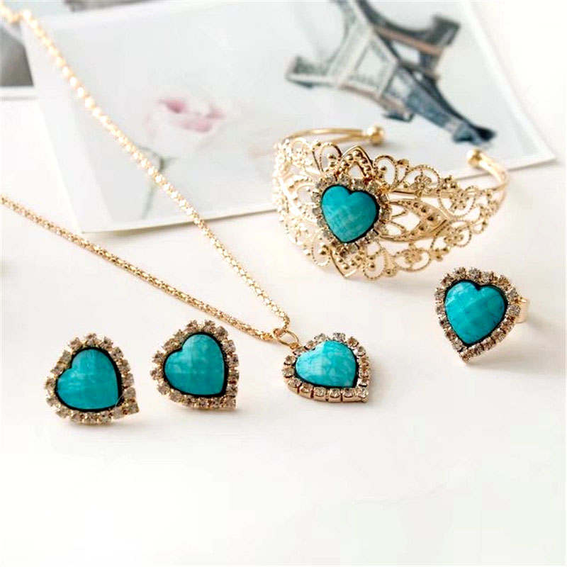Heart Created Turquoises Jewelry Sets Love Gold Color Pendant Necklace Bracelet Stud Earrings Set For Women Charmed Bijoux