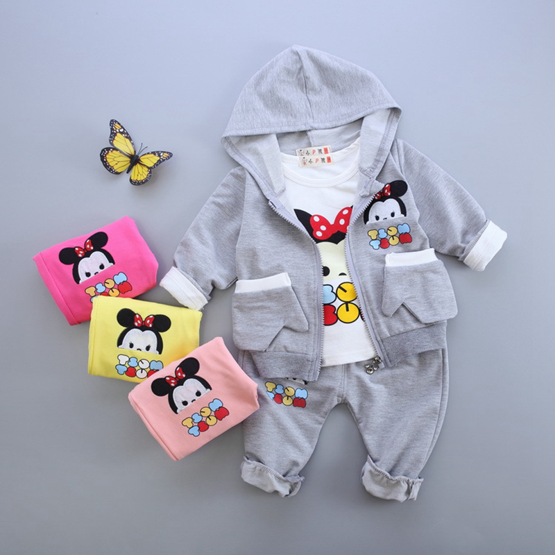 New autumn infant baby girl clothes sets 3pcs cartoon hooded pocket cardigan jacket+long sleeve shirt+pants newborn girls suits new autumn sweet girls sets two piece cardigan outwear cape jacket long sleeve dress cotton lace kids girls clothes sets