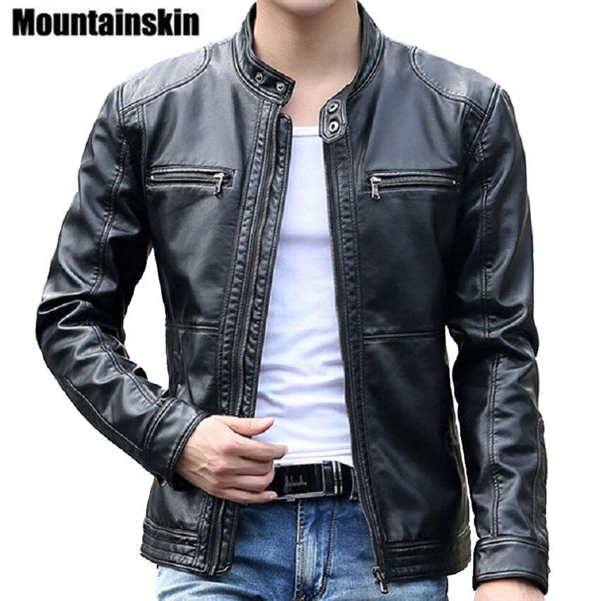 Chaquetas de cuero para hombre Mountainskin 5XL, abrigos con cuello levantado para hombre, chaqueta de cuero para motocicleta, ropa de marca delgada informal SA010