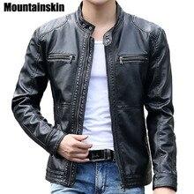 Mountainskin 5XL גברים של עור מעילי גברים צווארון עומד מעילי זכר אופנוע מעיל עור מקרית Slim מותג בגדי SA010