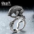 Beier 316L Stainless Steel skull ring Alien Predator Finger Rings For Men Gothic Style Biker Jewelry  BR8-358