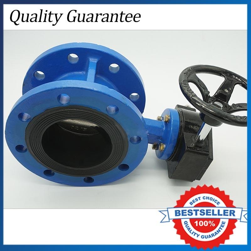 DN80 PN 1.6 Cast Iron Turbine Flange Butterfly Valve ethylene propylene soft seal butterfly valve pn 1 6 dn65 manual flange valve