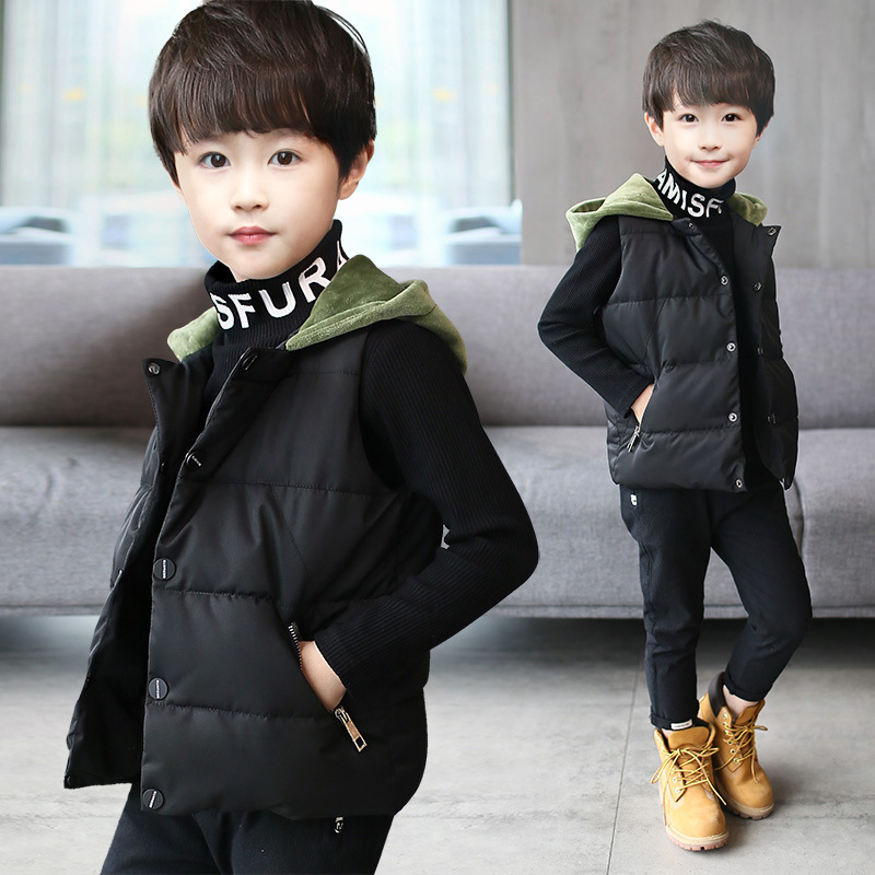 New Winter Teenager Boys Waistcoat Coats Kids Clothes Warm Hooded Cotton Baby Boys Vest for Age 4 16 Years Old Outerwear Costume