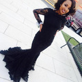 See Through Women Evening Gown Dress For Graduation Sexy African Long Sleeve Black Lace Mermaid Prom Dresses