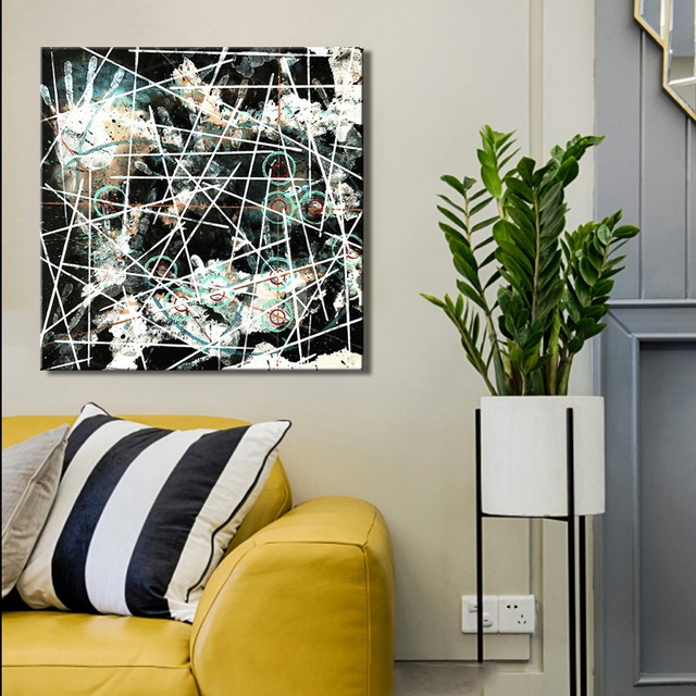 Large Size Nordic Abstract Cross Line Handprint Decorative Painting ...