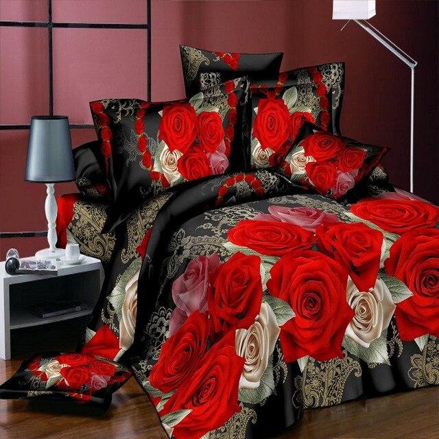 Домашний текстиль Новое 3D Love Flower постельного белья 4 шт./костюм для мальчиков, футболка + штаны пододеяльник костюм для мальчиков, футболка + штаны простыня постельное белье королевы Размеры