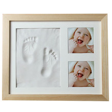 Baby hand and foot mold maker solid wood photo frame with cover fingerprint mud set B baby fun growth commemorative gift(China)