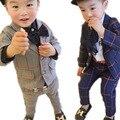 Высокое Качество 2016 Весна Детская Одежда Набор Мальчик Комплект одежды детская Мода Плед Костюм Мальчики Одежда Детские Наборы дети Установить