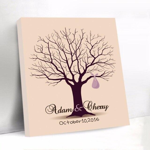 Fabelhaft Angepasst Unterschrift Gästebuch Fingerprint Baum Hochzeit &EQ_74