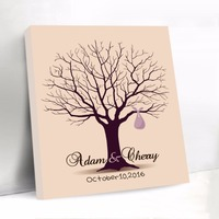 Customized Signature Guestbook Fingerprint Tree Wedding Guest Book Wedding Tree with Fingerprint Canvas Wedding Tree with Date