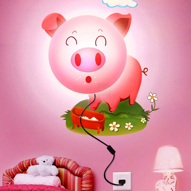 DIY 3D Cartoon Wallpaper Wall lamp lights Kids BedRoom Cute Cartoon Plastic Lampshade Dog/Pig/future/Sunflower Wall Lights