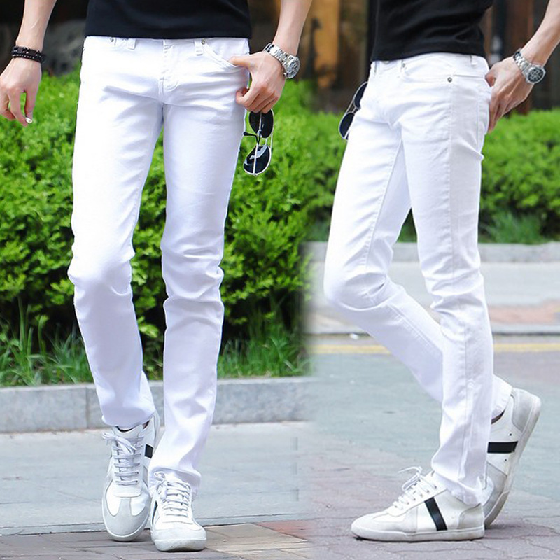 2016 New White Ripped Jeans Mens With Holes Super Skinny Famous Designer Brand Slim Fit Destroyed