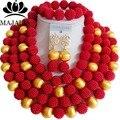 Moda de boda nigeriano beads africanos joyería conjunto africano de la joyería de plástico rojo set Envío libre Majalia-259