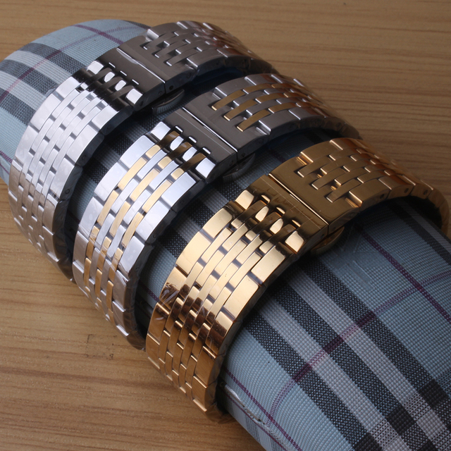 Watchbands Strap Silver Gold Mixed Color Polished Stainless Steel Metal Watch Bracelets Free Curved Ends 18mm