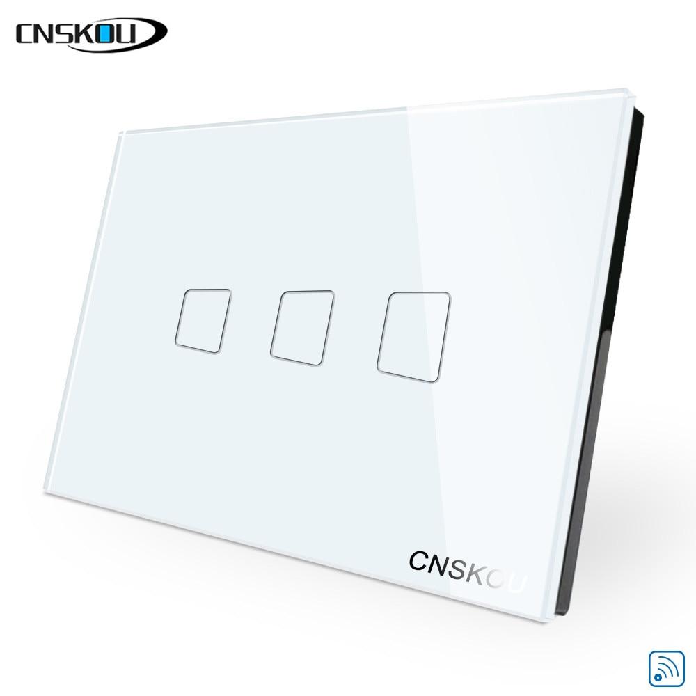 CNSKOU US/AU 2 Gang 1 Way Wifi Touch Light Wall Switch LED