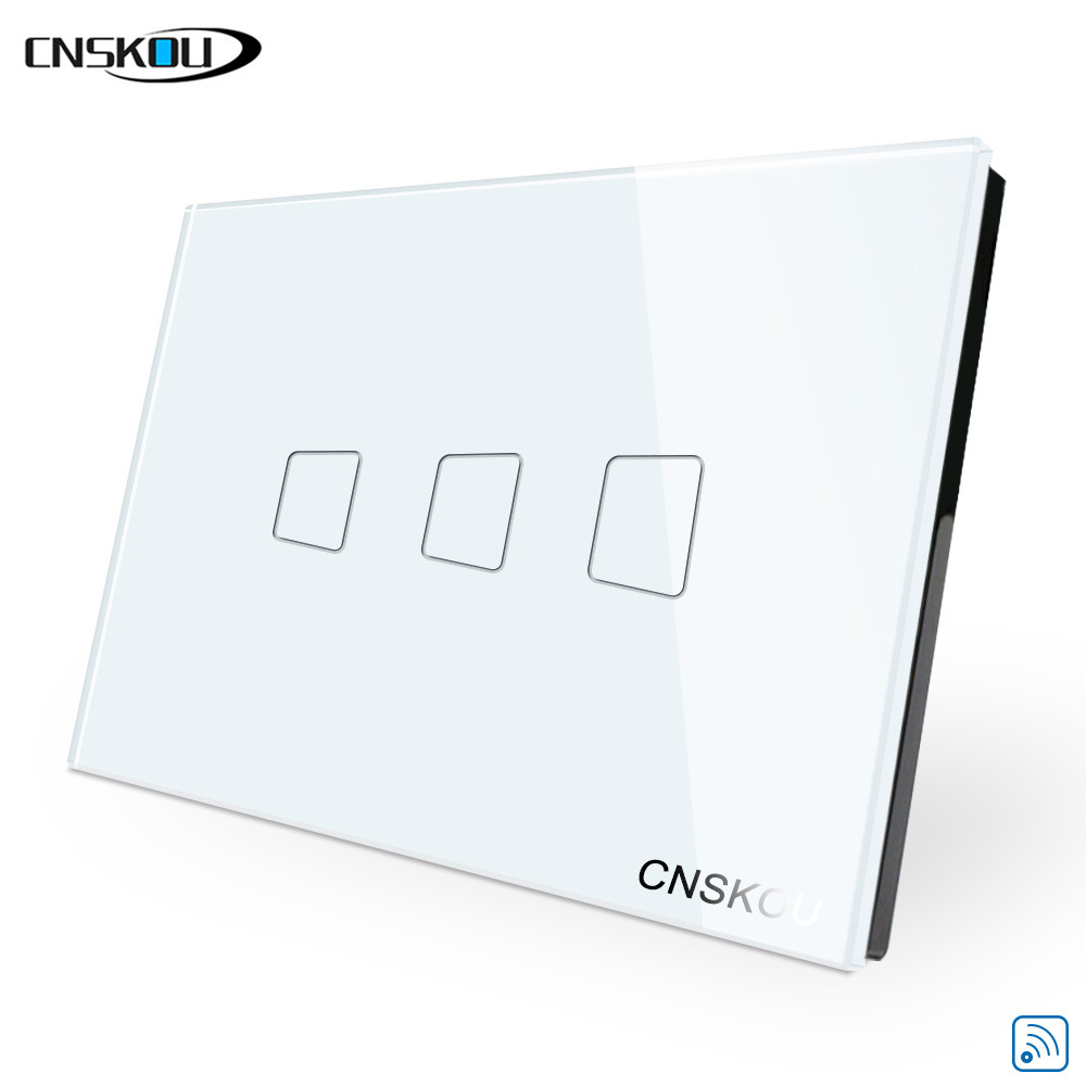 CNSKOU US/AU 2 Gang 1 Way Wifi Touch Light Wall Switch LED Smart Home Remote Control Switch Luxury Glass Panel