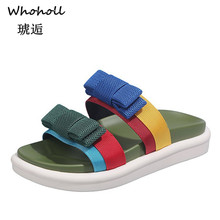 Whoholl Women Casual Summer Flat Beach Slippers Female Triped Slides Slipper Shoes for Girls Fashion Woman Leisure Footwear 2019 summer solid soft leather fish head female slippers flat soft bottom comfort leisure women slipper lazy people slides sjl148