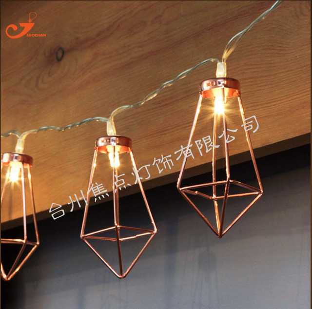 Rose Gold Metal Diamond Battery Operated Fairy String Lights Romantic Room  Decoration 10LED Patio Lantern Holiday