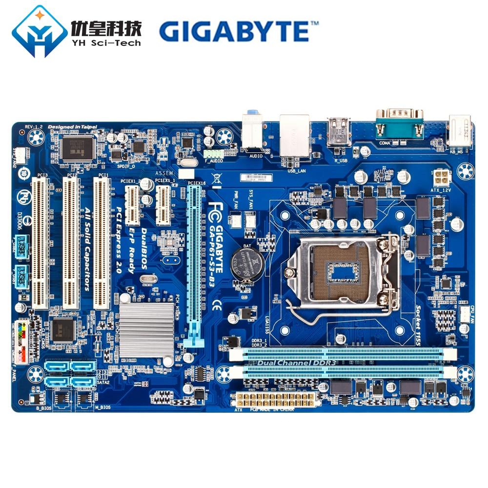 Original Used Desktop Motherboard Gigabyte GA P61 S3 B3 H61 LGA 1155 Core i7 i5 i3 DDR3 16G SATA2 USB2.0 VGA ATX
