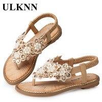 ULKNN Mädchen Sandalen Kinder Schuhe Perle Blumen Römischen Gladiatoren Flip-Flops Flache Slip-on Casual Sandalen Kinder Schuhe