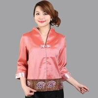 Di alta qualità di estate con scollo a v camicetta delle signore camicia di raso top classic Cinese del fiore del ricamo abbigliamento taglia s m l xl xxl Ws040