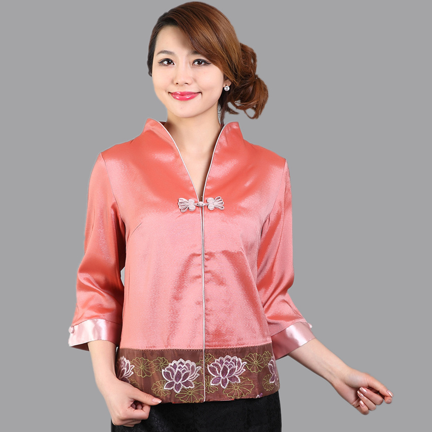 High Quality Summer V-Neck Blouse Ladies Satin Shirt Top Classic Chinese Embroidery Flower Clothing Size S M L XL XXL WS040