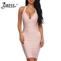 INDRESSME 2019 New Women Bandage Dress Runway Party Dresses Halter Deep V Sexy Lady Celebrity Backless Dress Lady Clue Dress