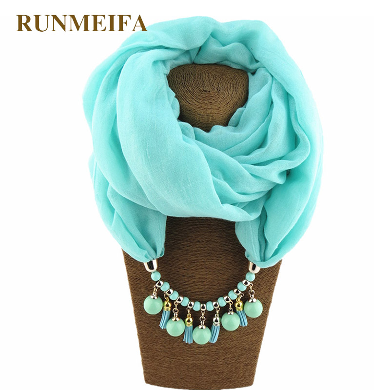 RUNMEIFA 2019 Pendant Necklace Scarf Women Solid Color Shawls Jewelry Scarf Female Stole Beach Trip Pareos Accessories Scarves