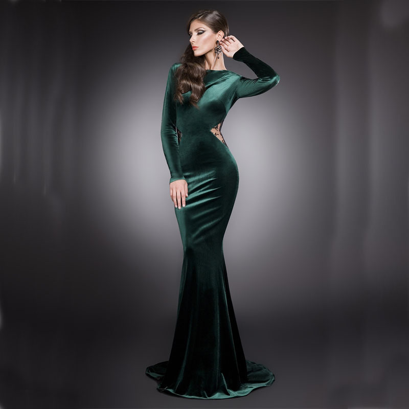 2015 Mermaid Long Sleeves Prom Dresses Lace Keyhole Dark