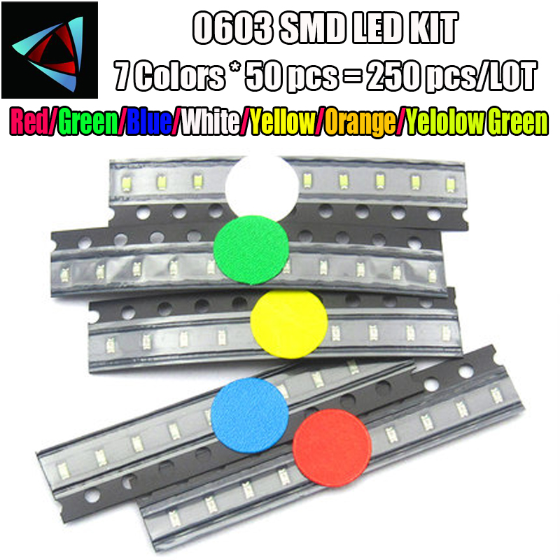 350pcs Smd Leds Diode 0603 Assorted Diod Led Light Emitting 0603 Diodes Red Orange Jade-green White Green Blue Yellow 50pcs Each Latest Fashion Active Components Electronic Components & Supplies