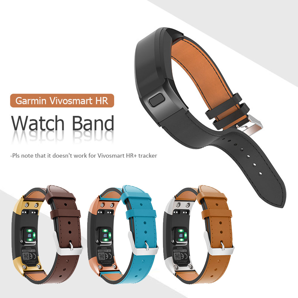 где купить Genuine Leather Band for Garmin Vivosmart HR Strap Replacement Watchband With Tool for Garmin VIVOsmart HR Leather Bracelet дешево