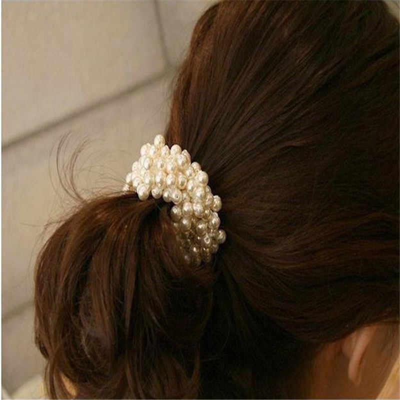 Mooistar2 # 4022D 1ピースファッション韓国女性真珠ビーズヘアバンドロープシュシュポニーテールホルダー