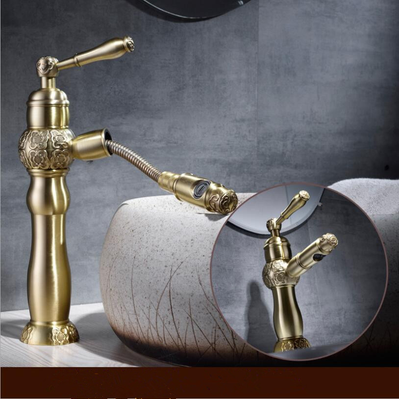 Water Tap Antique Brass washroom basin faucet sink tap mixer hot & cold bathroom faucet Pull out sink faucet Torneira lavatorioWater Tap Antique Brass washroom basin faucet sink tap mixer hot & cold bathroom faucet Pull out sink faucet Torneira lavatorio