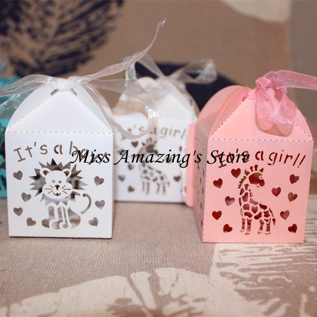 50pcs Its A Boy Girl Cute Animal Laser Cut Candy Box Gift Sweet Boxes Baby Shower