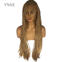 Natural Long Honey Blonde Wig with Baby HairHeat Resistant Fiber Synthetic Lace Front Braid Wig Braided Box Braids Wig 27 color