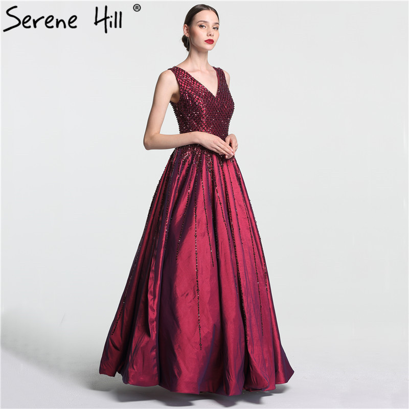 Deep V Sequined Beading Satin Evening Dresses Long Moderator Fashion  Banquet Evening Gowns 2018 Real Photo LA6121-in Evening Dresses from  Weddings   Events ... 2bc0710305e0