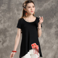 National Wind Embroidery Patch Casual Loose Large Size Women Cotton T-shirt Summer New Irregular M-3XL