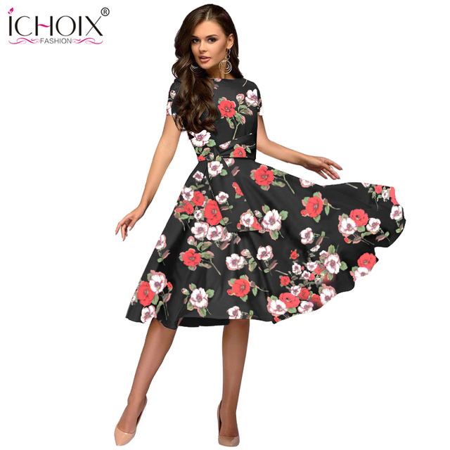 863db6e6d00a ICHOIX Women Elegant Summer Dress 2019 Casual A Line Floral Print Vintage  Dresses Ladies Office Party Bodycon Dress With Sashes