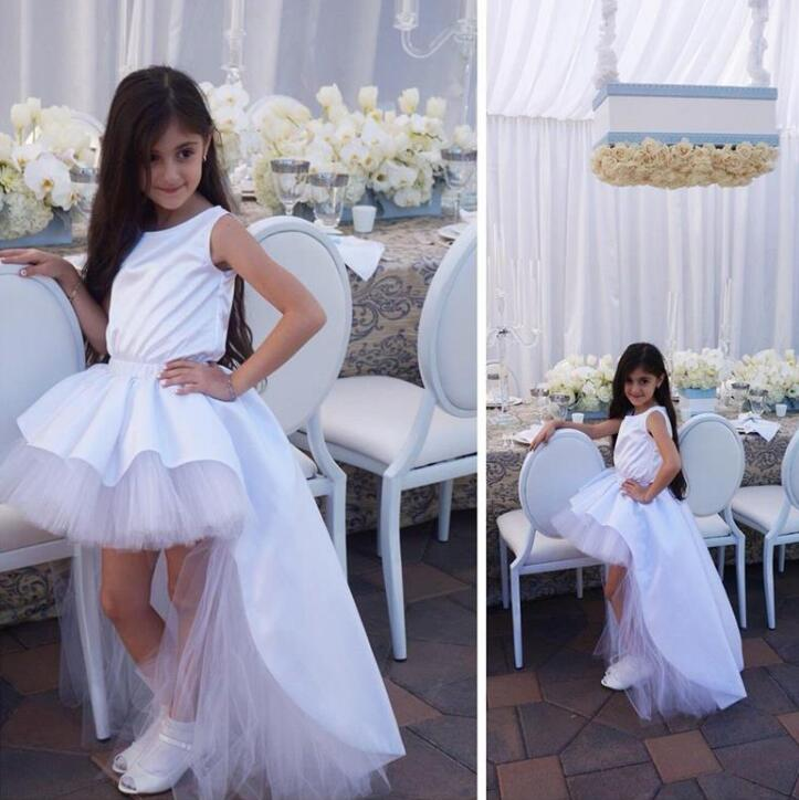 In Fashion 2018 White Ball Gown   Flower     Girl     Dresses   O Neck   Girls   Pageant   Dresses   Satin Pleat Little Bride   Dresses   M1287