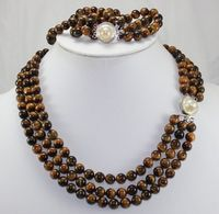 hot sell new YH57E shipping New Design Natural Tiger Eye Stone 17 Brecelet & 20 Necklace Jewelry Set (A0425)