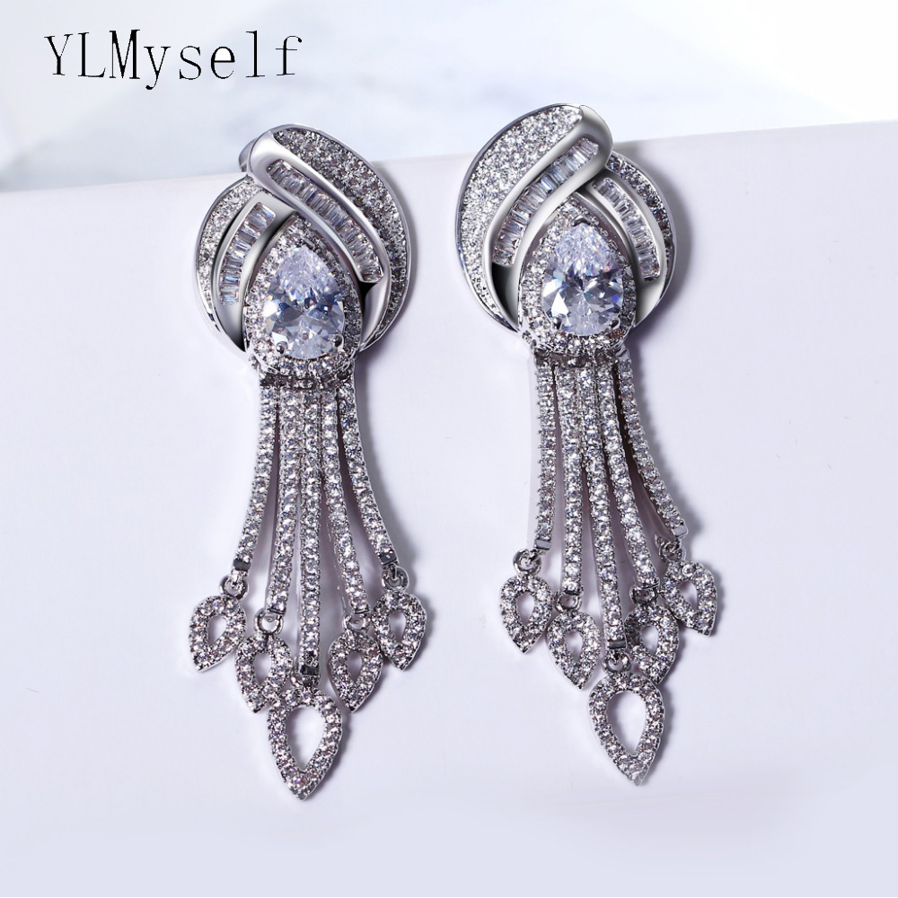 Top quality Large Dangle earrings Gold and White color Setting Bright Cubic Zirconia Women Jewelry for