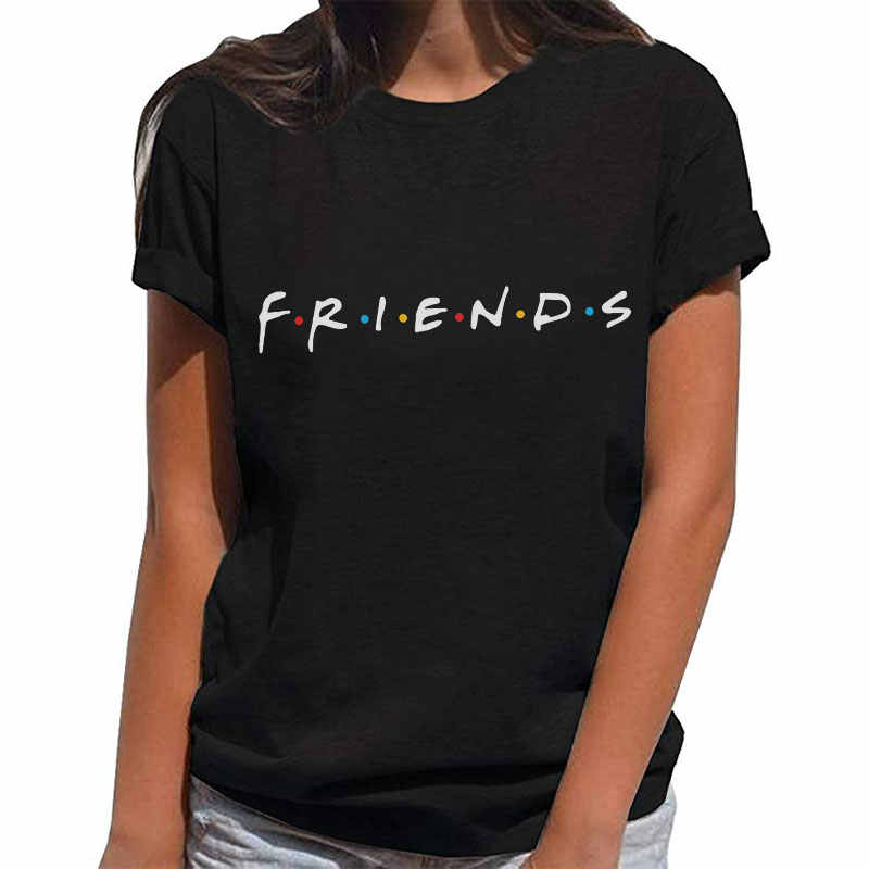 Women Casual Summer Letter Vogue Print Friends Tshirts Femme Short Sleeve Tops Tee O Neck Vintage Black T-shirt Camisetas Mujer